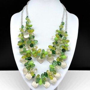 NEW Chico's Green Glass Cluster Beaded Necklace